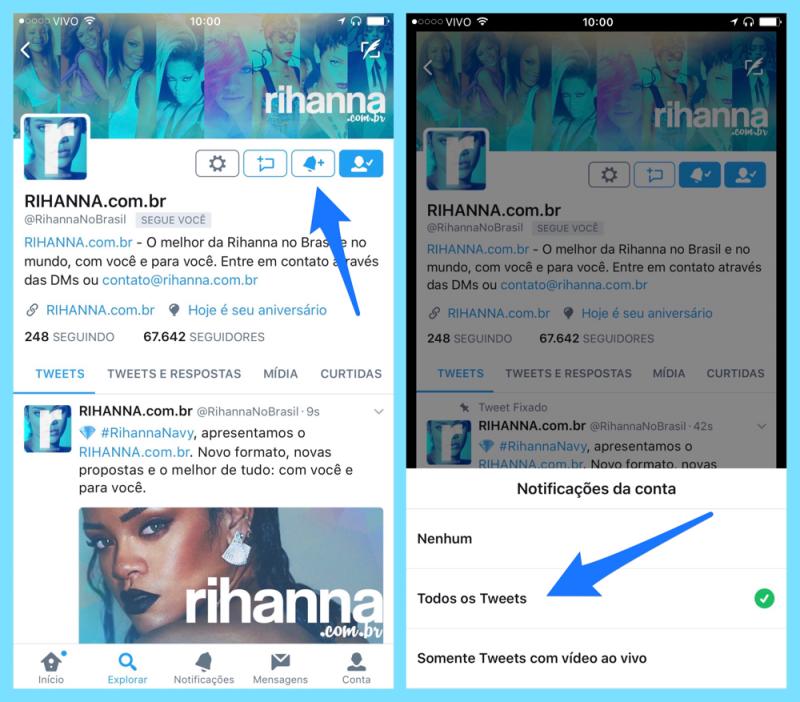 Como ativas as notificações no Twitter RihannaNoBrasil