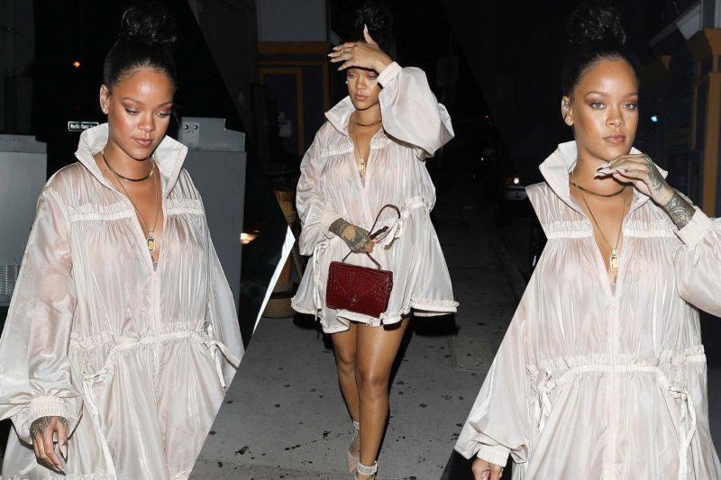 Rihanna chegando no restaurante Giorgio Baldi