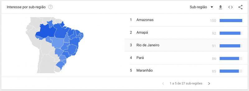 Rihanna Google Buscas por Estado